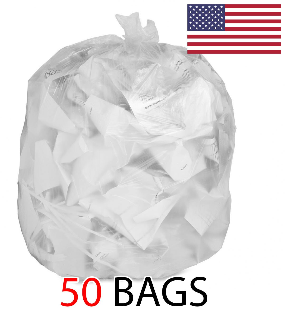 Ox Plastics 55 Gallon Recycle Bags, 36 X 52, 1.5 mil Strength, MADE IN USA (50, Clear) by Ox Plastics