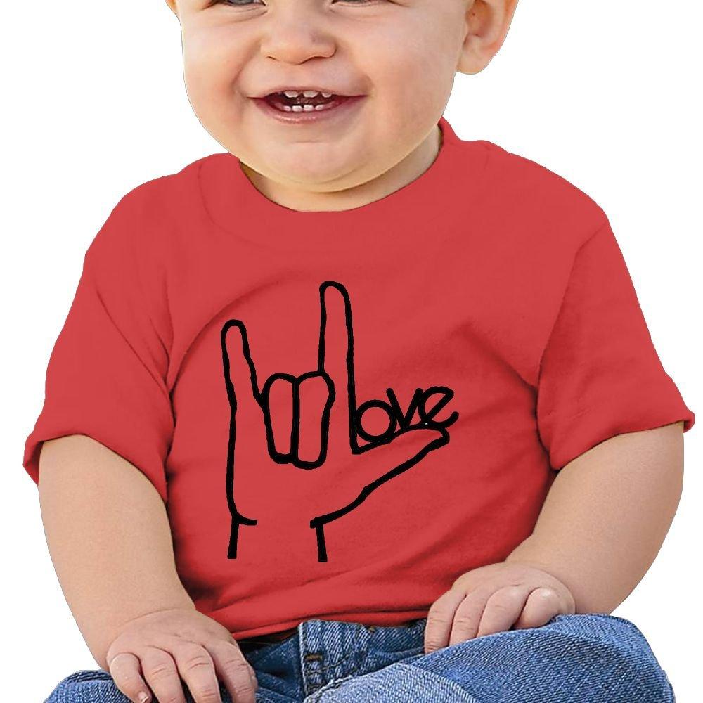 Chengrangst I Love You ASL Handshape Sign Language Toddler/Infant Short Sleeve Cotton T Shirts Pink