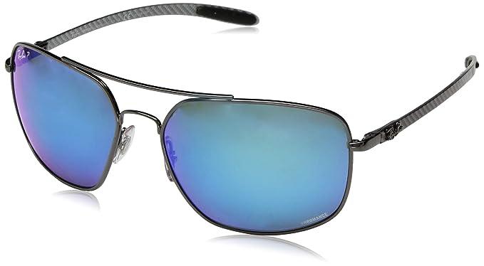 241458066 Ray-Ban Men's RB8322CH Chromance Mirrored Square Sunglasses, Gunmetal/Polarized  Blue Mirror ,
