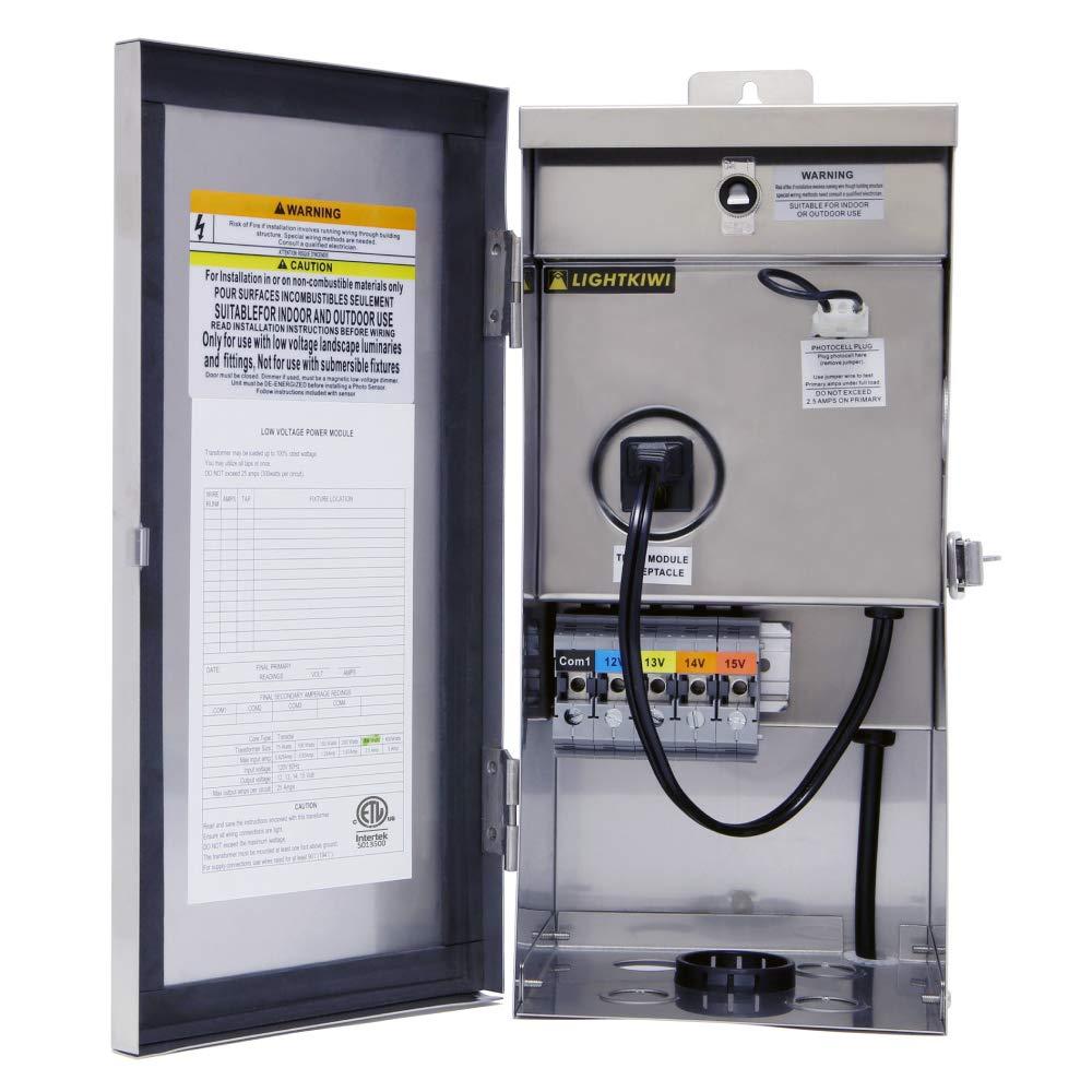 Lightkiwi W9715 300 Watt (12V-13V-14V-15V) Multi-Tap Low Voltage Transformer for Landscape Lighting by Lightkiwi