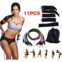 Multi-Functional Resistance Band HIIT Workout Set - Push/Pull Home Body Muscle Cross Training Kit for Legs Core Hips Arms Glutes Hamstring