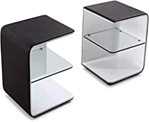 J and M Furniture Wave Night Stand, Black/White