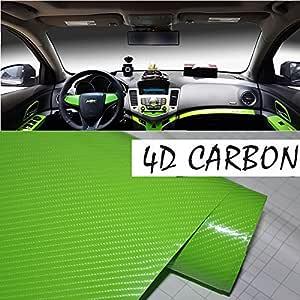 "4D Glossy Black 24/""x60/"" Carbon Fiber Vinyl Wrap Car DIY Sticker Air Release New"