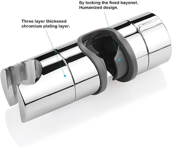 Soporte Ducha Aoleca 18-25mm ABS Almohadilla ajustable del cromo del soporte de la abrazadera del resbalador de ducha Rotating 360 degrees PB4 para el cuarto de ba/ño