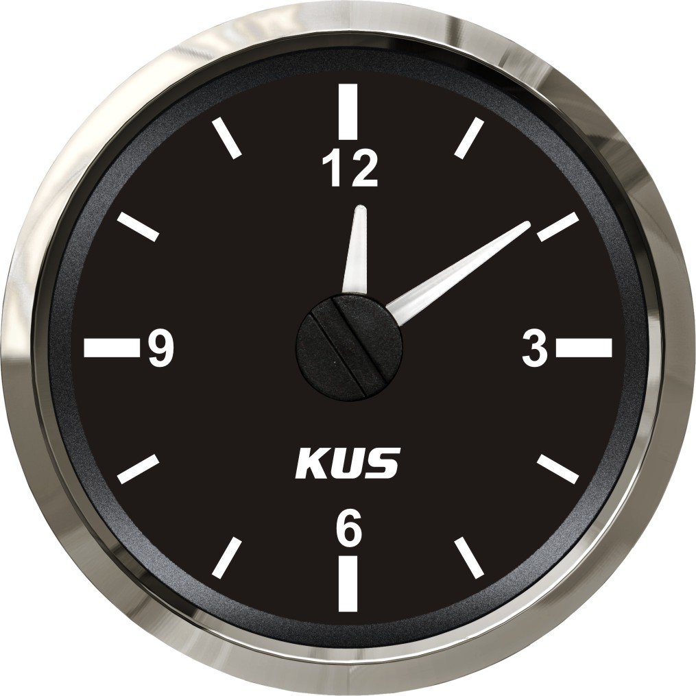 KUS Guaranteed Clock Meter Gauge 12-Hour Format with Backlight 52mm(2'') 12V/24V