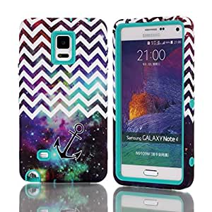 Queens® Newest Armor Rugged Case Cover For Samsung Note4 IV three Hard Piece(3-piece) Wave Anchor Starry Chevron Hybrid Impact Theer in1 Armor Combo Rugged Hard Case Cover And Clear Screen Protect For Samsung Note4 IV (1-Teal)