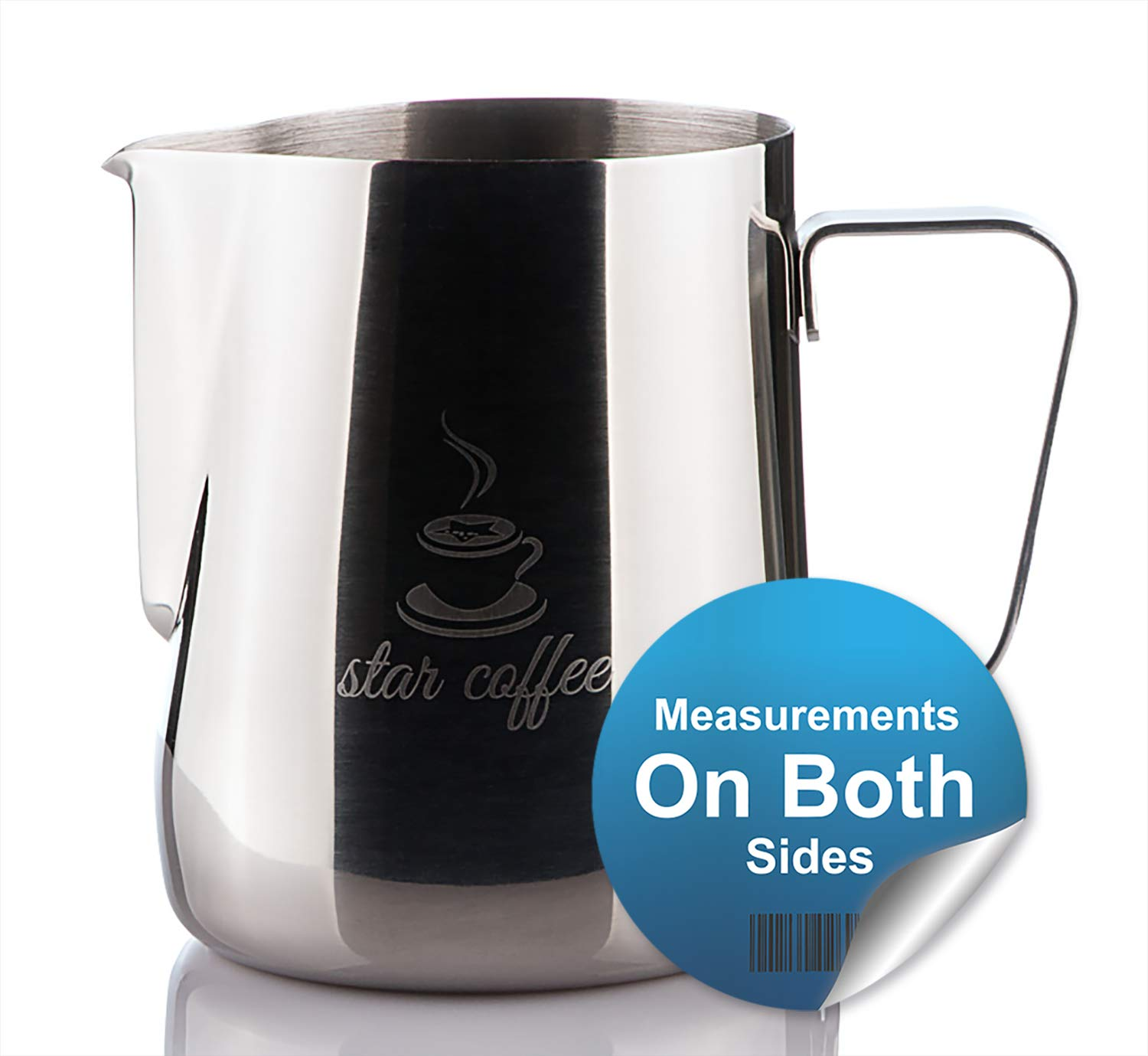 Star Coffee 20, 12 or 30oz Stainless Steel Milk Frothing Pitcher - Measurements on Both Sides Inside Plus eBook & Microfiber Cloth - Perfect for Espresso Machines, Milk Frothers, Latte Art by Star Coffee