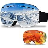 infinitoo skidglasögon med 1 ersättningsobjektiv skidor snowboardglasögon glasögonhållare spegelspegelmed dubbla glas…