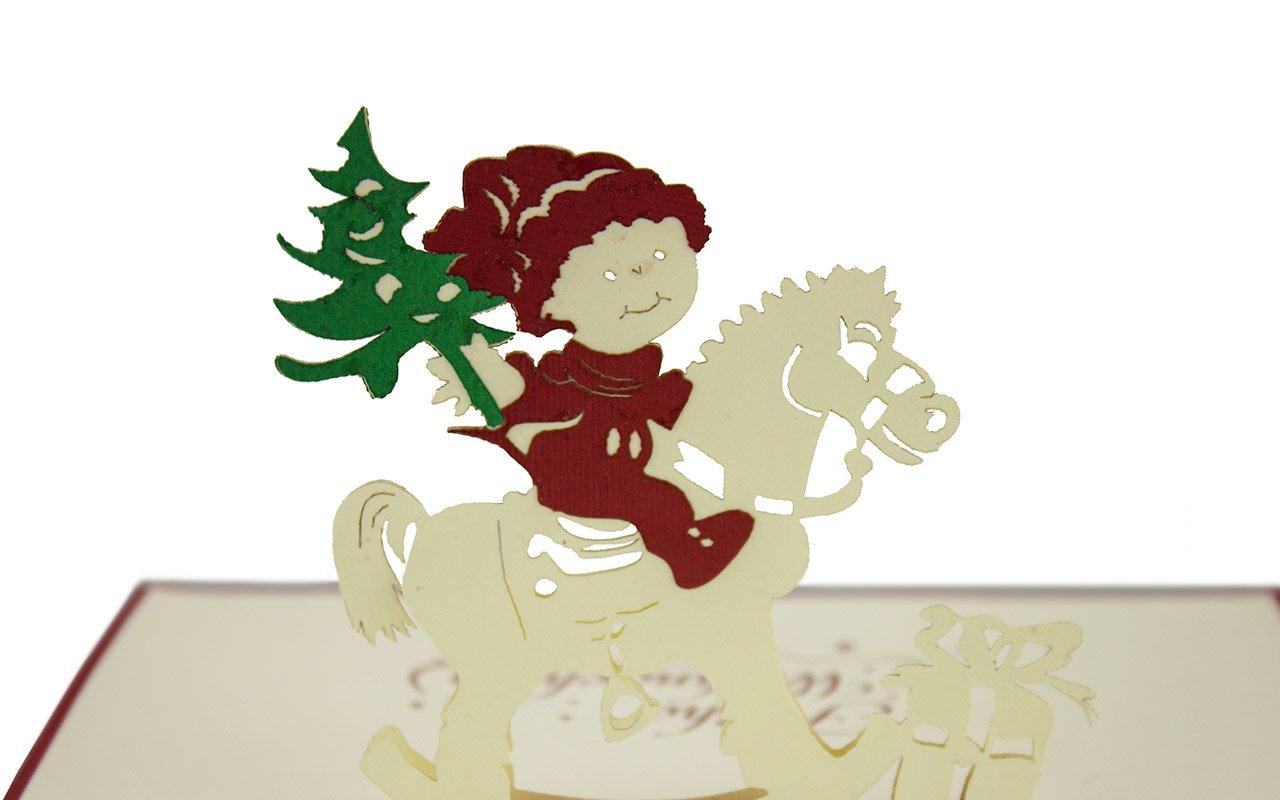 rosso e bianco Biglietto di Natale con cavallo a dondolo 3d a comparsa cartolina di auguri natalizi pop up per adulti e bambini alta qualit/à busta inclusa fatto a mano