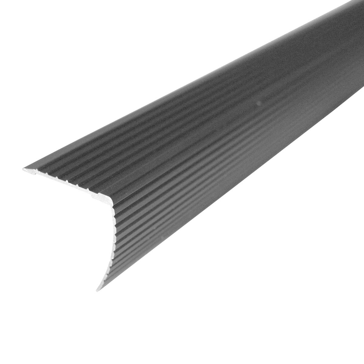 """M-D Building Products 43310 M-D Fluted Stair Edging Transition Strip, 36 in L, Aluminum, Prefinished, Satin Nickel, quot 1""""x1"""""""