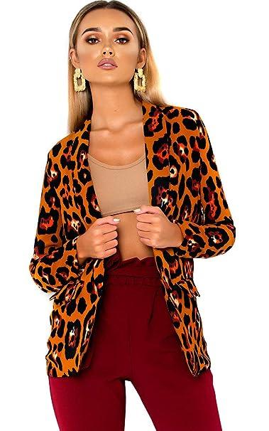 Amazon.com: IKRUSH - Chaqueta para mujer, diseño de leopardo ...