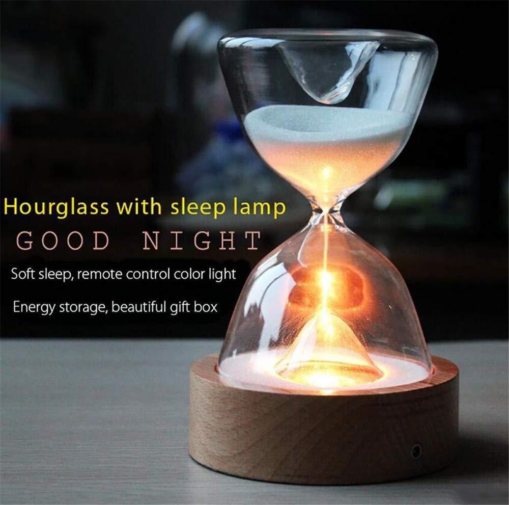 Glas-Stundenglas-Leuchten Timer LED Sand Glas NachtLicht Schlaf Helfer mit FernBedienung für Weihnachten GeburtstagsGeschenke zu Hause Dekor