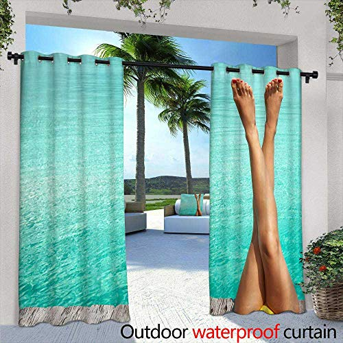 (Lightly Outdoor- Free Standing Outdoor Privacy Curtain,White Wine with Barrel on Vineyard in Chianti, Tuscany, Italy,W72 x L84 Outdoor Privacy Porch Curtains)