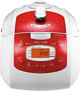 Cuckoo CRP-FA0610FR 6 cup Multifunctional Electric Pressure Rice Cooker – 15 Built-in Programs Including Glutinous (Sticky, Normal, GABA and More, Non-Stick Coating, Made in Korea, Red/White