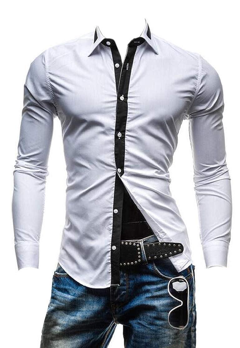 KLJR Men Long Sleeve Slim Fit Contrast Color Casual Dress Shirts