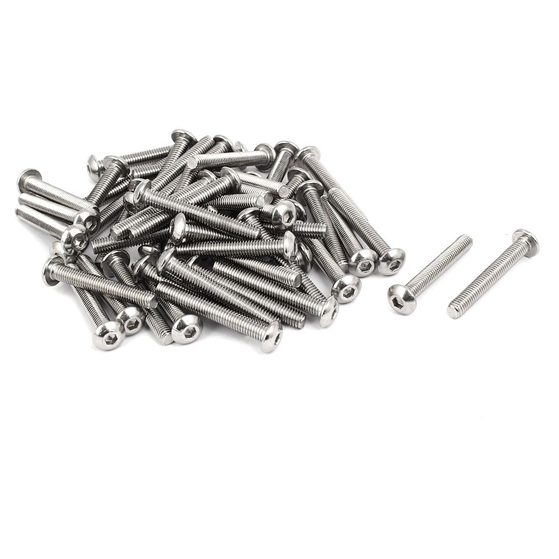 uxcell M5x35mm 304 Stainless Steel Button Head Hex Socket Cap Screws Bolts 50pcs a17022100ux0056