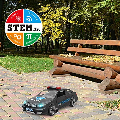STEM Police Car Toy Limei Building Toy Car Vehicle Assemble by Power Drill with Realistic Lights and Sound Learning Educational Toy for Toddlers Kids by Noble Toys Factory(33Pcs)