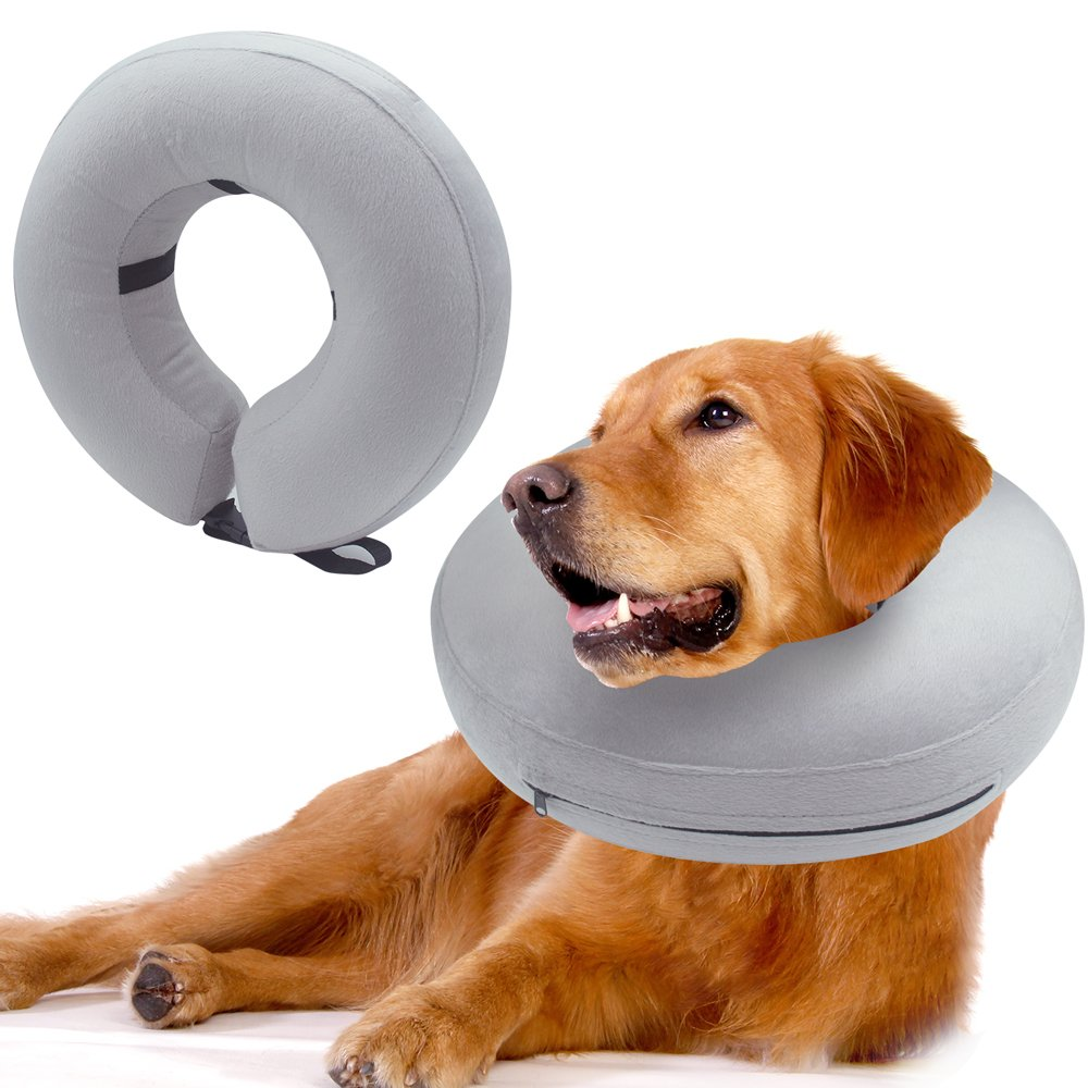 Mihachi Dog Inflatable Recovery Collar - Protective E-Collar Cone (17''-21'') Prevent Pets from Biting Injuries Rashes and Wounds, Gray, Large