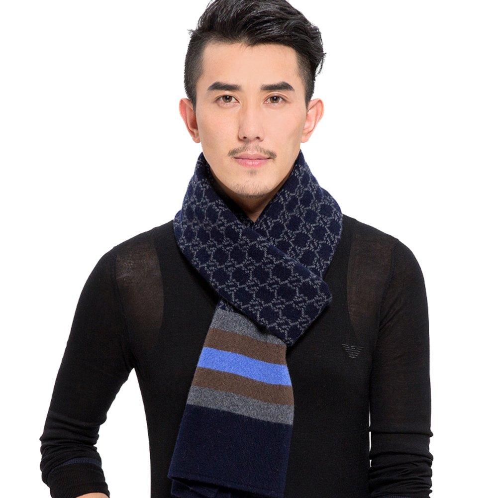 Men scarves winter scarf Yarn knit Plaid scarf-B One Size