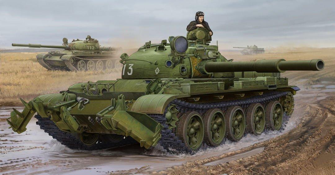 Kit Modelo Ruso T-62 Mod.1975-KMT-6 Mina de arado Trumpeter 01550