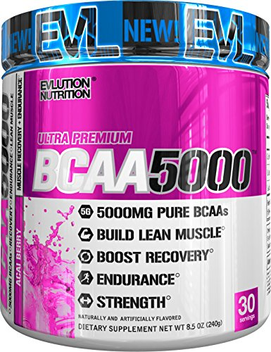 Evlution Nutrition BCAA5000 Powder 5 Grams of Premium BCAAs (Acai Berry, 30 Servings)
