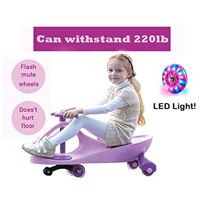Gostorechoice Ride on Toys, Ride on Wiggle Car with PU and LED Light Up Wheels,Wiggle for Endless Fun (Pink): Toys & Games