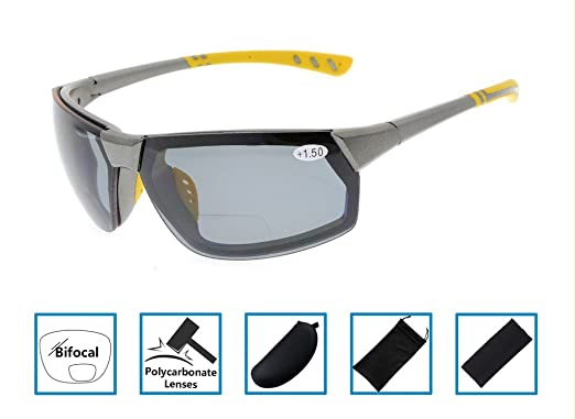 6d95109462 Gr8Sight Lectores Sun Sports TR90 Gafas de sol bifocales irrompibles para  béisbol Running Fishing Driving Golf Senderismo Softbol Gris Marco Gris  Lente +2.5