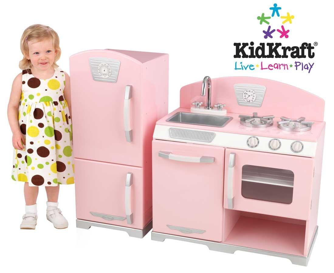 KidKraft Retro Kitchen and Refrigerator,Pink
