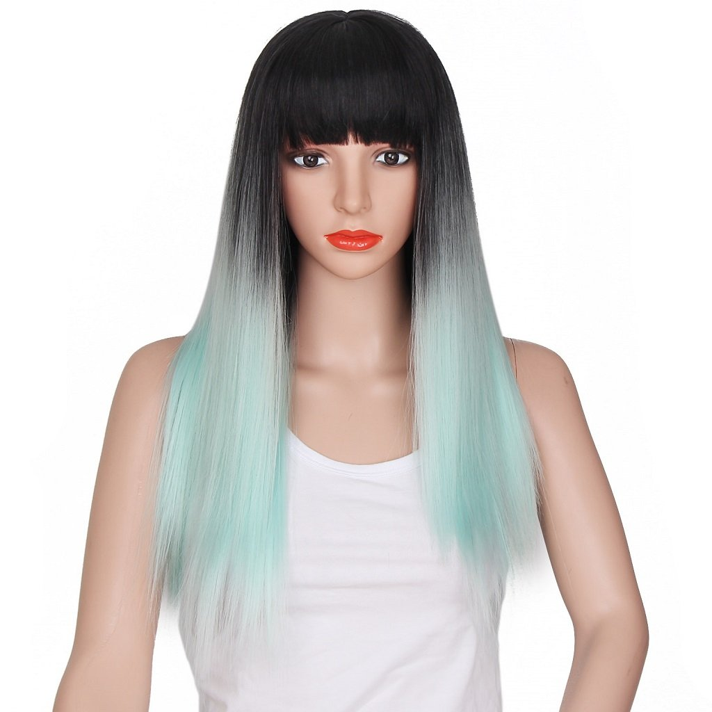 Ani·Lnc New Fashion Black Silver 65cm Long Straight Synthetic Ombre Hair Wigs With Bangs Yueniu