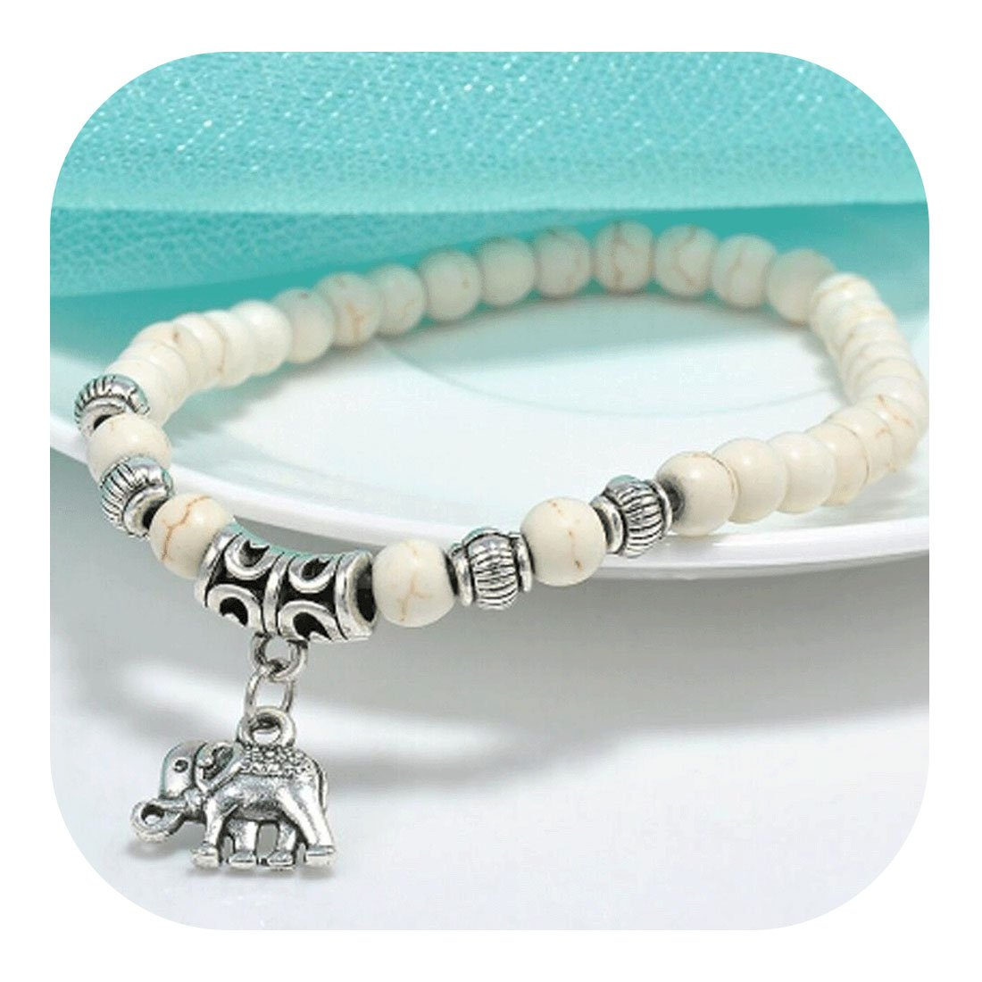 Molyveva Indian White Beads Stretch Bracelets Vintage Alloy Whisper/Holy Fire/Asian Elephant Bracelets (Asian Elephant)