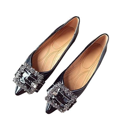 2463bb6178c72 Amazon.com: August Jim Womens Flat Shoes,Buckle Comfort Slip-on ...
