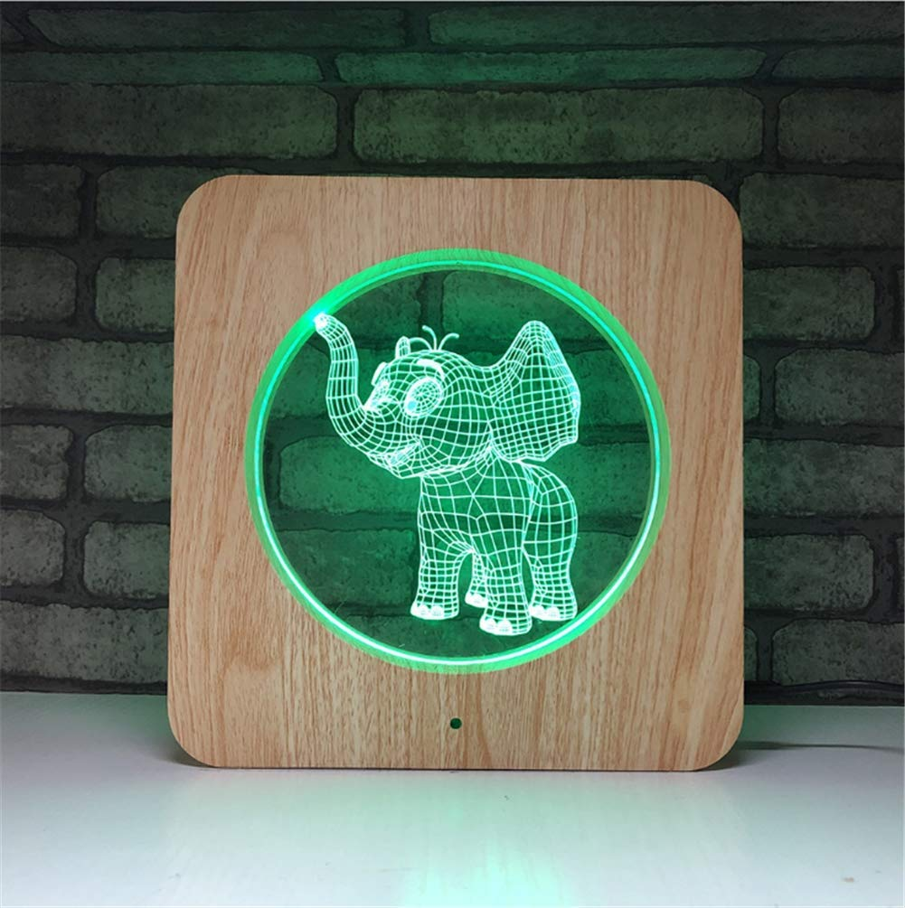 3D Lamp 7 Colour Optical Illusion Acrylic Wooden Square Frame LED Night Light with Timed Off Remote Control and Touch Swith Desk Table Lighting USB Cable and Battery Powered (Elephant)