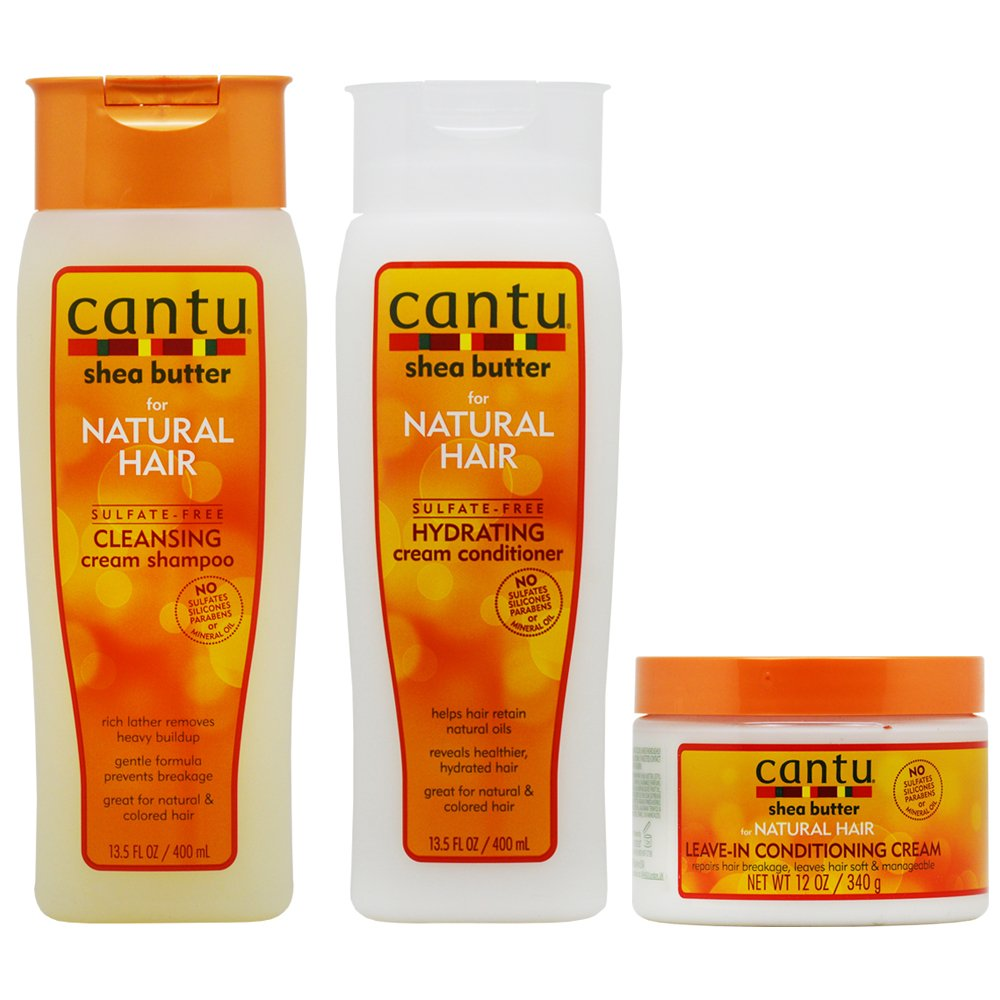 Cantu Shea Butter Cleansing Shampoo + Hydrating Conditioner + Leave-in Conditioning Cream 12oz ''Set'' by Cantu