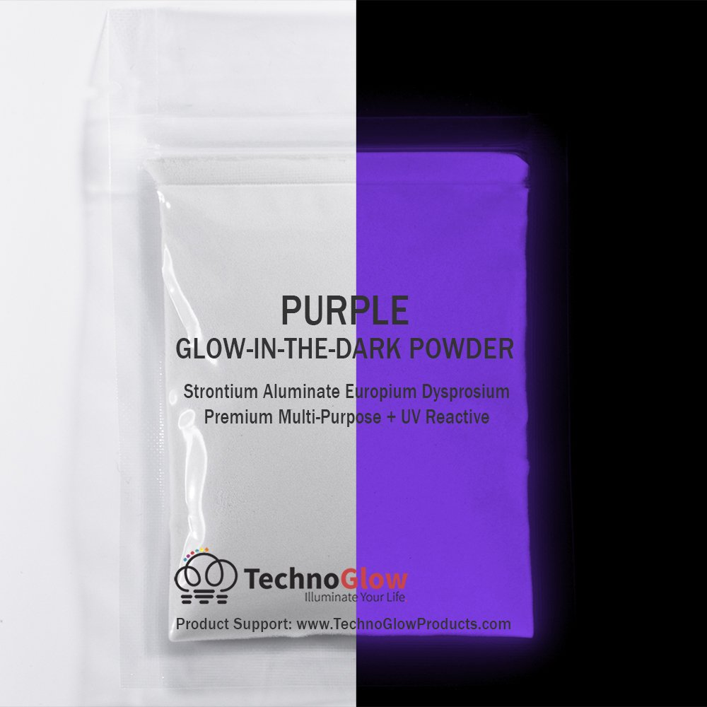 Purple Glow in the Dark & UV Reactive Pigment Powder - 30 Grams Techno Glow Inc