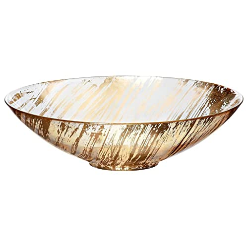 """Glass Bowl, Fruit Bowl, Salad Bowl, Ideal for dinner parties, Collection """"GOLDEN DUST"""", 27 cm, gold/transparent (AMARA DESIGN powered by CRISTALICA)"""