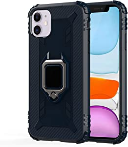 Metal Kickstand Carbon Fiber Case for iPhone 11, [Vertical and Horizontal Stand] [Reinforced Drop Protection] [4 Corners Shockproof] Flexible TPU Soft Back for The iPhone 11 (Carbon Fiber Blue)