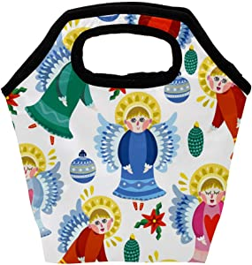 MAPOLO Magical Christmas Angels Snowflakes Pattern Insulated Lunch Bag Reusable Outdoor School Travel Picnic Food Container Organizer Lunch Tote Bags for Women Men Kids