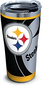 Tervis 1299955 NFL Pittsburgh Steelers Rush Stainless Steel Tumbler with Lid, 20 oz, Silver