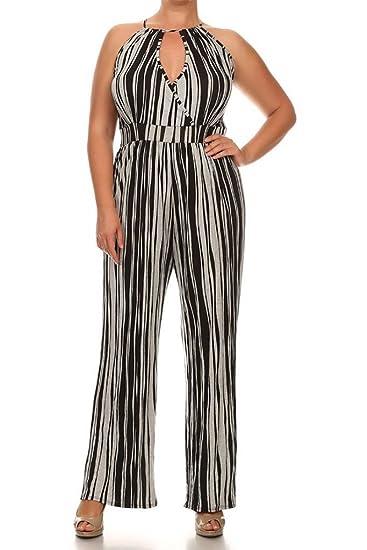 5476de7d669 Amazon.com  Plus Size Stripe High Neck Halter Sexy Keyhole Women Romper  Jumpsuit - 1XL - Grey  Clothing