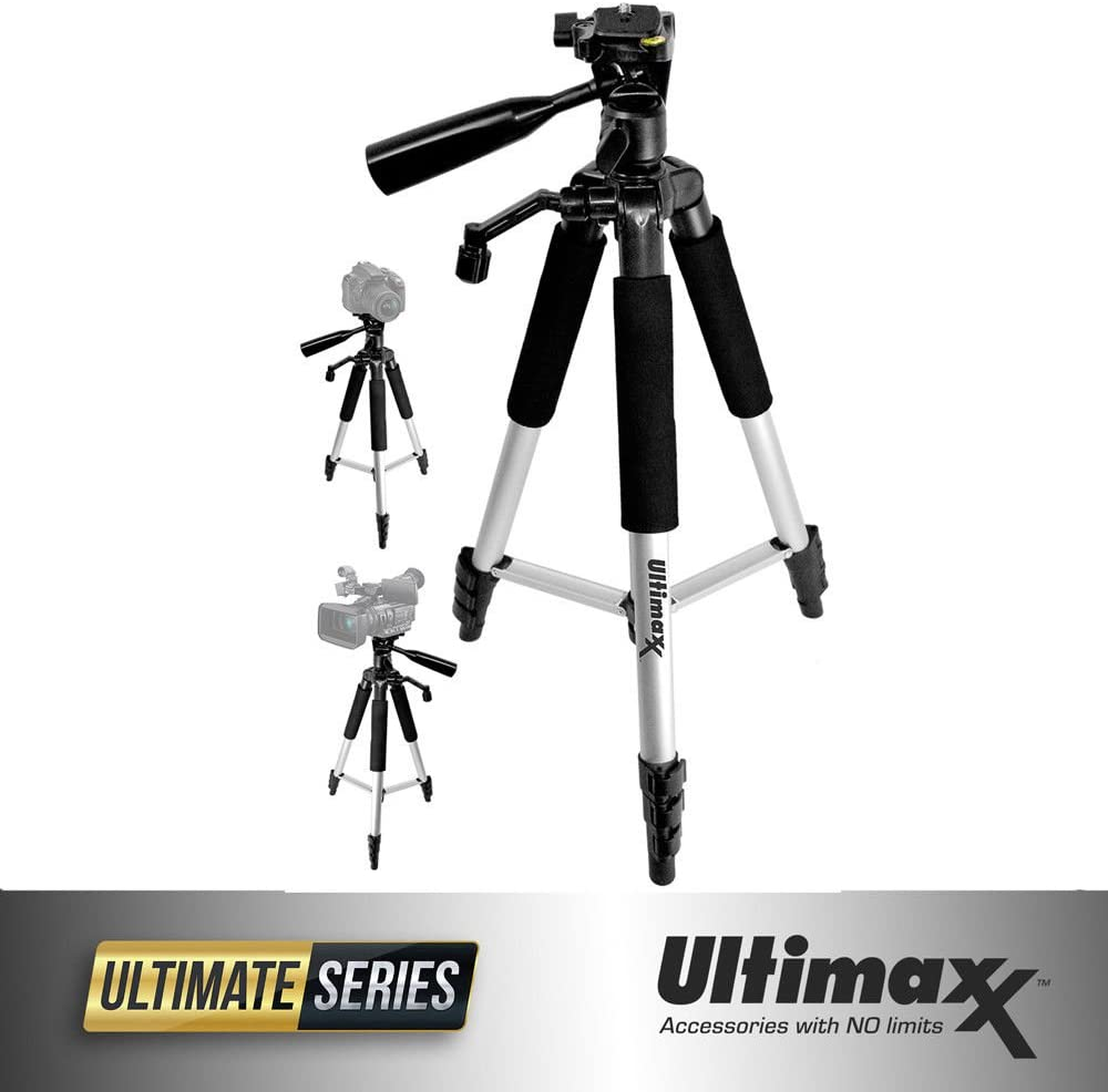 Ultimaxx 57 Inch Lightweight Portable Camera Tripod Stand with Carrying Bag for All DSLR Cameras and Camcorders