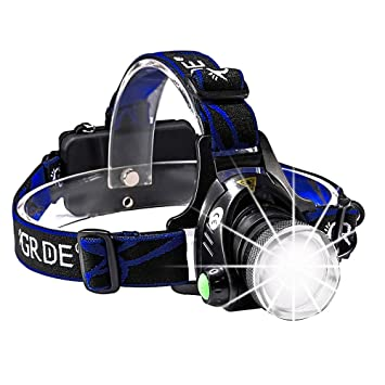 Linterna frontal, grde batería LED Headlamp Headlight Linterna 3 ...