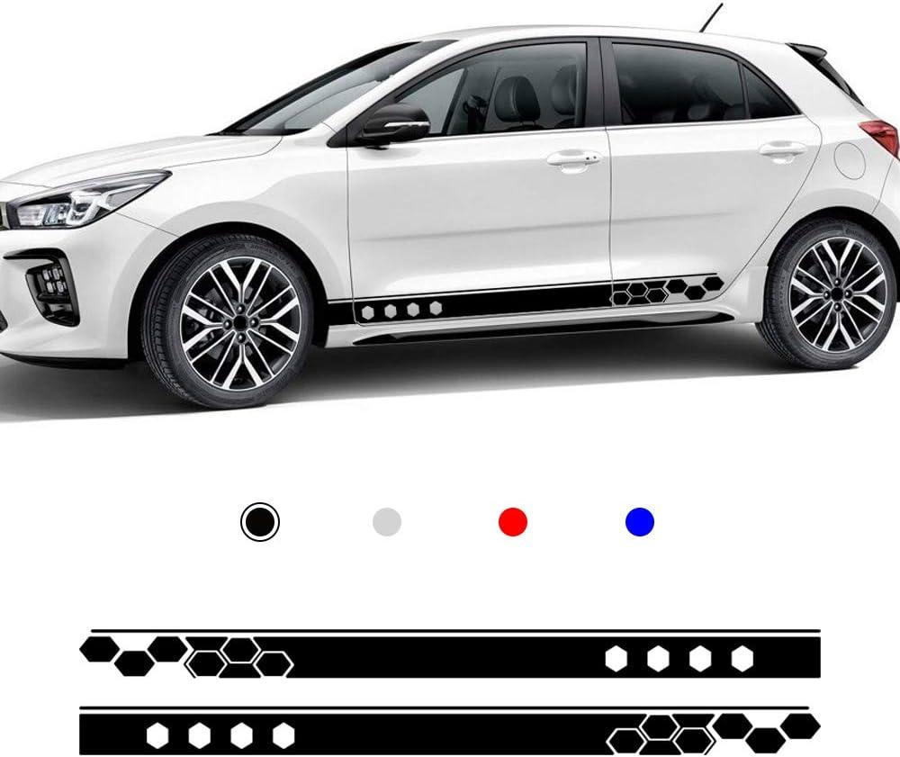 Für Kia Rio Karosserie Seitenaufkleber Sport Racing Streifen Rock Fenster Tür Auto Styling Dekorative Wasserdichte Aufkleber 185x12cm Schwarz Auto