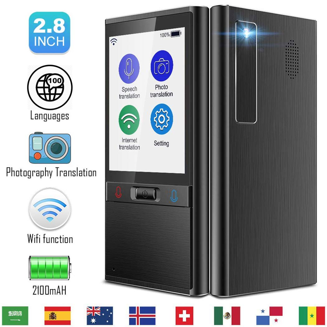 """Translator Device New Generation, Instant Voice Translator Two Way WiFi 4G  100 Languages 2 8""""Touch Screen Support Photographing Translation with 5MP"""