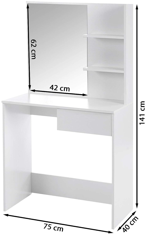 ts-ideen Pettiniera Coiffeuse Bianca in Stile Moderno con Ampio Specchio e mensoliera Porta Accessori