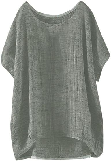 Damen T-Shirt Shirt Rundkragen Bluse Sommer Kurzarm Top Locker Größe Neu