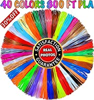 3D Pen Filament Refills 1.75mm PLA 40 Colors Total 800 Feet (23 Solid / 5 Metallic / 4 Fluo / 4 Transparent / 2 Silk / 2 Glow)- Mega Gift Set with Individual Packs for 3D Drawing/Art Pens and Printers by PARKYAPI