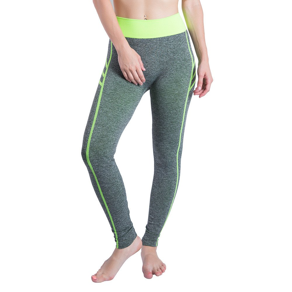 iLUGU Women Gym Yoga Patchwork Sports Running Fitness Leggings Pants Athletic Trouser(S,Green-25)
