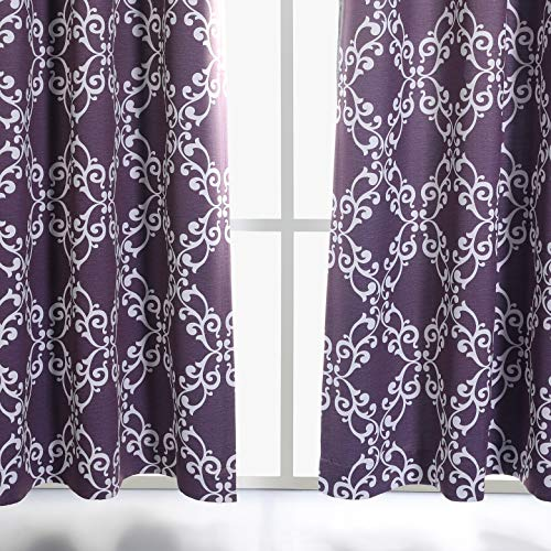 """MYSKY HOME Purple Curtains for Bedroom Moroccan Floral Tile Print Thermal Insulated Blackout Drapes for Living Room, 52"""" W x 84"""" L, Set of 2 Curtain Panels"""
