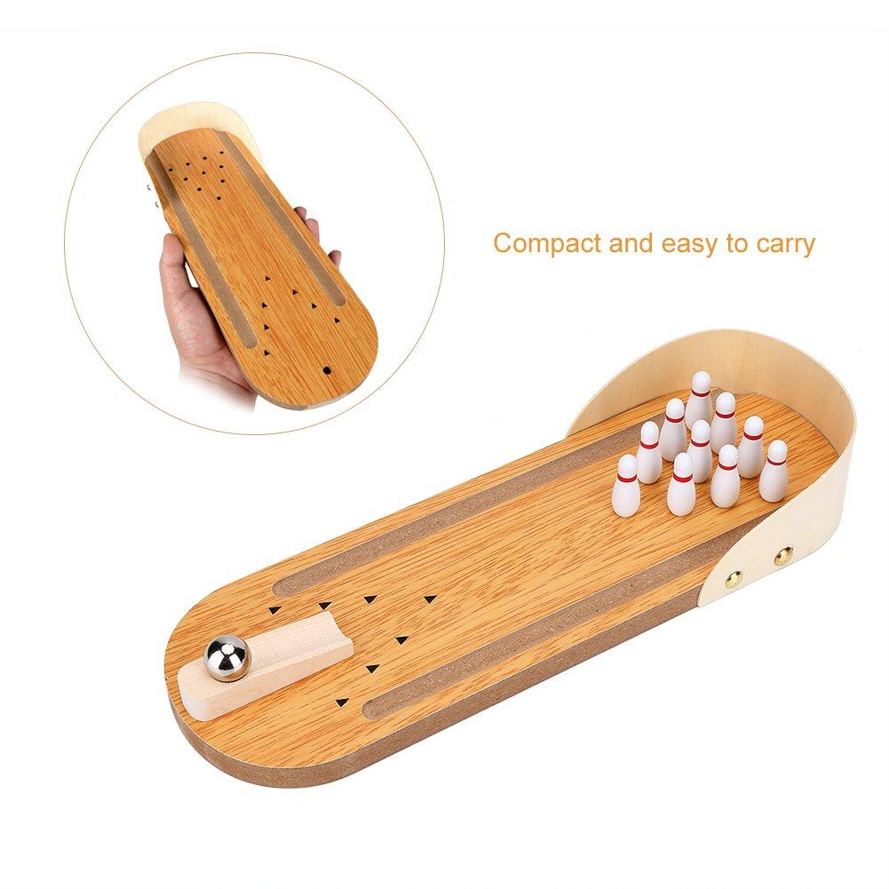 Tisch Mini Bowling Game Set mit H/ölzernen Desktop Dekoration f/ür Kinder Spiel VGEBY1 Tisch Bowling Set