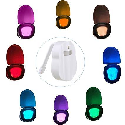 Luz para asiento para inodoro, luz nocturna de LED activa 8 colores sensor de movimiento